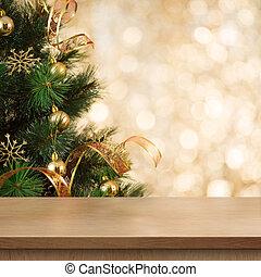 julgran, filial, bak, tom, ved, bord, eller, hylla
