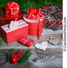 julgran, med, gåvor