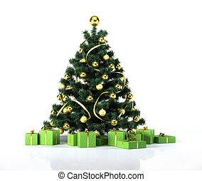 julgran, med, gyllene, klumpa ihop sig, och, decoration.,...