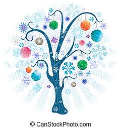 julgran, med, klumpa ihop sig