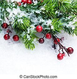 julgran, och, utsmyckningar, över, snö, bakgrund