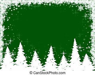 julgranar, och, snöflingor, ram