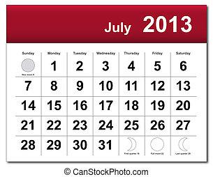 julho, calendário, 2013