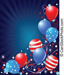julho quarto, cartão, balões