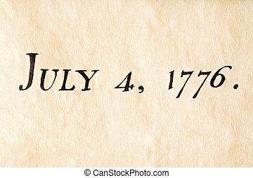 juli, 1776, vierde