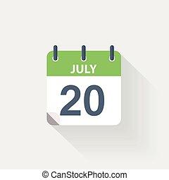 juli, 20, kalender, pictogram
