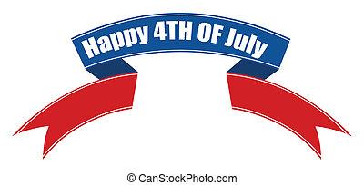 juli 4, banner, geschenkband, glücklich