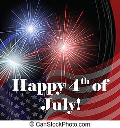 juli, 4, kort, med, fireworks