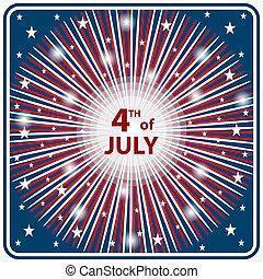 juli 4, starburst, tag, unabhängigkeit