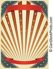 juli, amerikanische , banner, viert