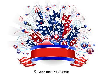 juli, fireworks, fjärde