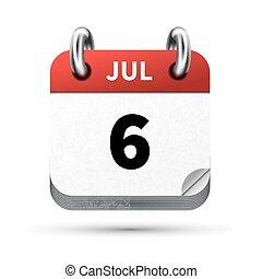juli, isoleret, realistiske, klar, 6, dato, hvid, kalender,...