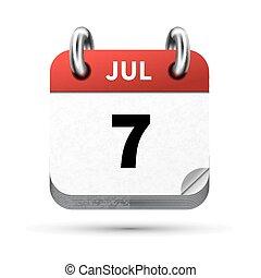 juli, isoleret, realistiske, klar, 7, dato, hvid, kalender,...
