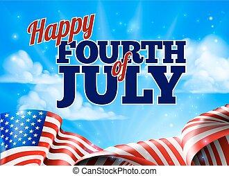 juli, oberoende, bakgrund, fjärde, dag