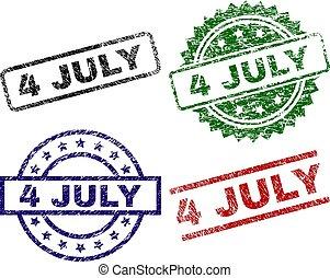 juli, strukturerad, 4, frimärken, skrapet, försegla