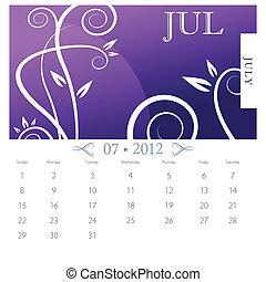 juli, victoriansk, kalender, side