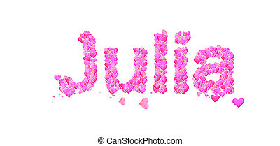 Name set with hearts decorative lettering type design