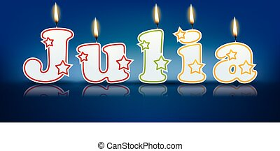 JULIA written with burning candles - vector illustration
