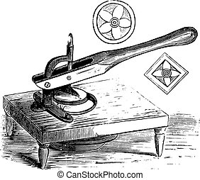 Julienne cutter, vintage engraving.