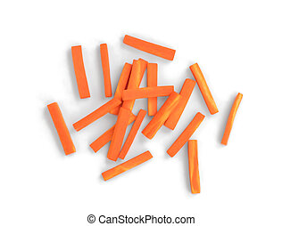 julienned carrot sticks isolated on white background, top view