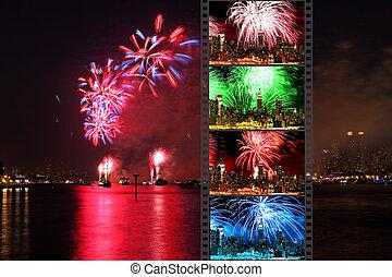 julio, fuegos artificiales, macy's, exhibiciones, 4