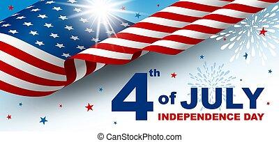 julio, vector, 4, día de independencia, ilustración