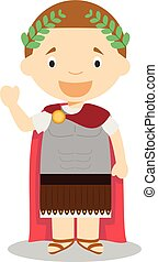 Julius Caesar cartoon character. Vector Illustration.