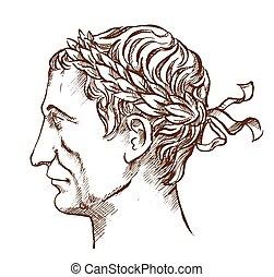 julius, fodra, general, caesar, teckning, romersk, politiker...