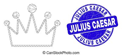 julius, trångmål, nät, caesar, blå, krona, försegla, stämpel...