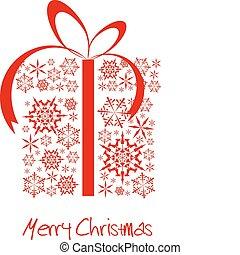 julklapp, boxas, gjord, från, röd, snöflingor