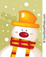 julkort, med, snögubbe