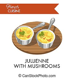 Jullienne with mushrooms meal from delicate french cuisine...