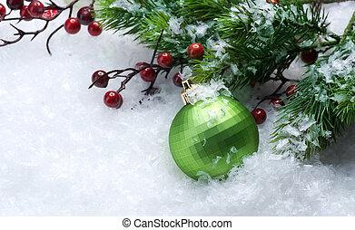 julprydnader, över, snö, bakgrund