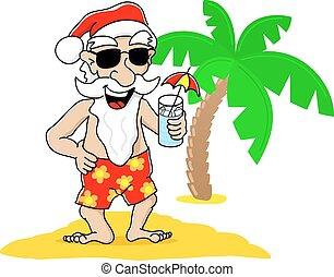 jultomten, hos, jul, på semester, stranden