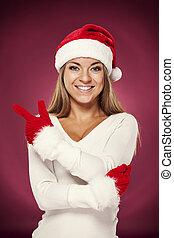 jultomten, kvinna pekande, copyspace