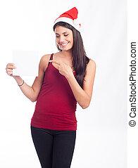 jultomten, kvinna, visande, nit signera
