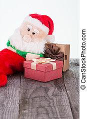 jultomten, leksak, och, gåva boxar
