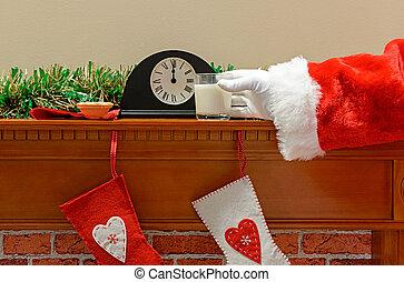 jultomten, mjölk, och, färspie