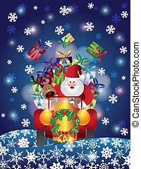 jultomten, ren, snö, drivande, natt