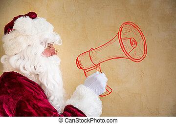jultomten, skrikande, genom, oavgjord, megafon