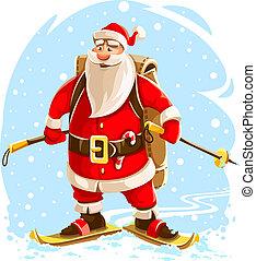 jultomten, tecken, jul, munter, tecknad film