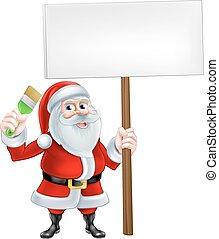 jultomten, tecknad film, borsta, holdingen, underteckna