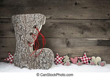 jultomten, trä, grå, boot., bakgrund, jul, röd