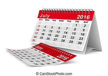 july., イメージ, 隔離された, calendar., 年, 2016, 3d