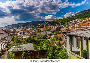 July 10, 2016: Panoramic view of the old town of Sarajevo, Bosnia and Herzegovina
