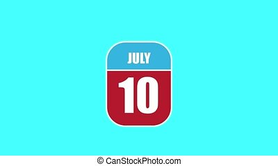 July 10th. Day 10 of month, 2D calendar animation. A calendar sheet is assembled from its component parts. summer month, day of the year concept.