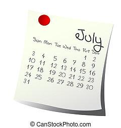 July 2011 - Calendar for July 2011 on paper