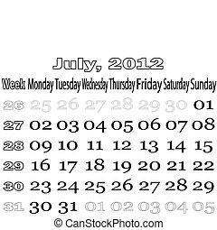 July 2012 monthly calendar