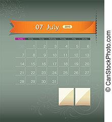 July 2013 calendar ribbon design