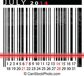 JULY 2014 Calendar, Barcode Design. vector illustration